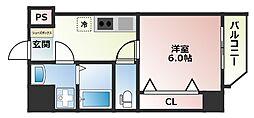LAND GALAXY 4階1Kの間取り
