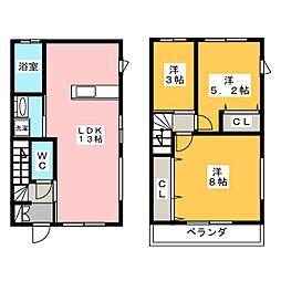 [テラスハウス] 愛知県名古屋市千種区猫洞通3丁目 の賃貸【愛知県 / 名古屋市千種区】の間取り