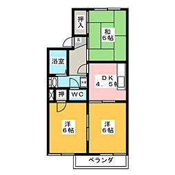 愛知県岡崎市福岡町字北裏の賃貸アパートの間取り