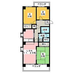 坂野マンション[4階]の間取り