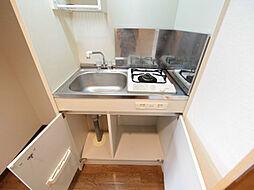 CRECER新栄のキッチン(ガスコンロ1口付)冷蔵庫置き場あり