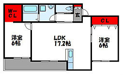 西鉄貝塚線 西鉄新宮駅 徒歩12分の賃貸アパート 3階2LDKの間取り