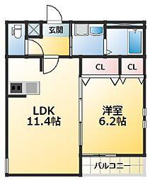 クレール・アゾン3 3階1LDKの間取り