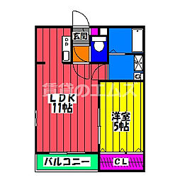 JR鹿児島本線 竹下駅 徒歩4分の賃貸アパート 3階1LDKの間取り