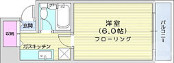 AOBA62 5階1Kの間取り