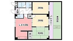 兵庫県西宮市東鳴尾町1丁目の賃貸マンションの間取り
