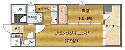 福岡市地下鉄七隈線 薬院大通駅 徒歩6分の賃貸マンション 6階1LDKの間取り