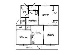南富山コーポ3号棟[311号室]の間取り