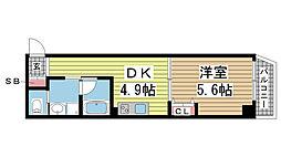 古湊第2リーフビル 1階1DKの間取り
