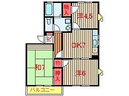 エスティーヌ津田沼 PART2[203号室]の間取り