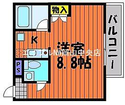岡山県岡山市北区今2丁目の賃貸マンションの間取り