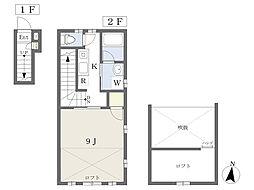 JR中央線 国立駅 徒歩5分の賃貸アパート 2階1Kの間取り