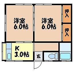 田崎アパート[2階奥号室]の間取り