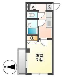 愛知県名古屋市中村区宮塚町の賃貸アパートの間取り