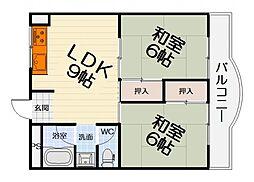 大阪府堺市西区浜寺諏訪森町中2丁の賃貸マンションの間取り
