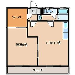 千本杉コーポ[302号室]の間取り