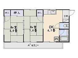富士見荘[202号室]の間取り