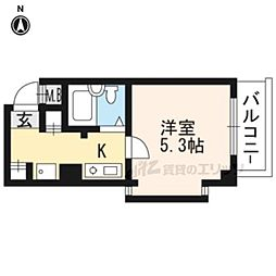 京都市営烏丸線 北大路駅 徒歩35分の賃貸マンション 1階1Kの間取り