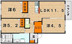 クラヴィエ三萩野 B棟[2階]の間取り