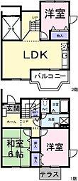 東京都稲城市百村の賃貸アパートの間取り