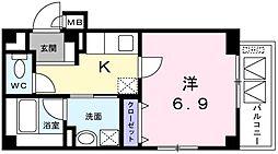 京急空港線 糀谷駅 徒歩5分の賃貸マンション 2階1Kの間取り