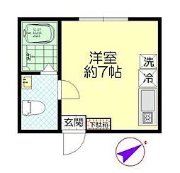 神奈川県横浜市中区立野の賃貸アパートの間取り
