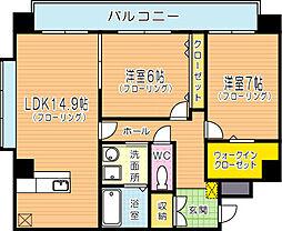 福岡県北九州市門司区原町別院の賃貸マンションの間取り