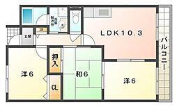 ラフィネ星田[2階]の間取り