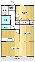 ハートフルタウン弐番館[201号室]の間取り