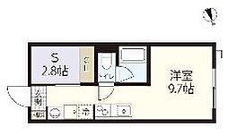 広島電鉄宮島線 楽々園駅 徒歩14分の賃貸アパート 1階ワンルームの間取り