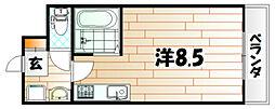 福岡県北九州市若松区中川町の賃貸マンションの間取り