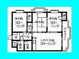 福岡県福岡市博多区春町2丁目の賃貸マンションの間取り