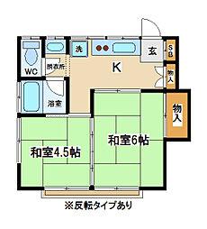 東京都府中市宮西町5丁目の賃貸アパートの間取り