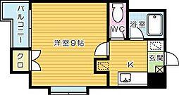 ギャランK中原[702号室]の間取り