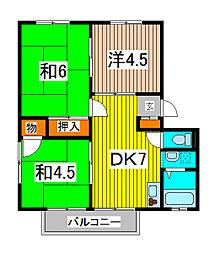 アムールE[3階]の間取り