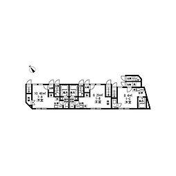 CASADIA中台 ~カサ―ディア中台~ 1階ワンルームの間取り