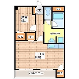 平野フラワーハイツ[4-E号室]の間取り