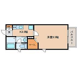 静岡県静岡市駿河区小鹿3丁目の賃貸アパートの間取り
