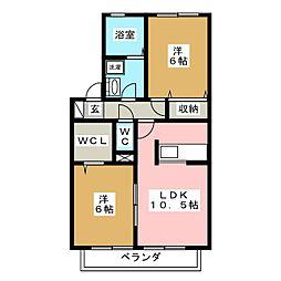 グランドゥールK[1階]の間取り
