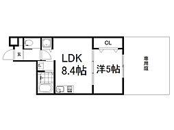 (仮称)深草町通町新築マンション 1階1LDKの間取り