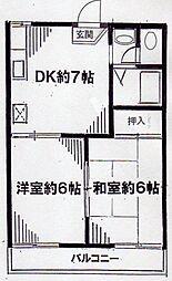 神奈川県横浜市金沢区富岡西7丁目の賃貸アパートの間取り