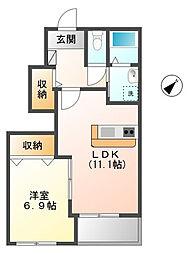 仮)つくばみらい市板橋新築アパート[1階]の間取り