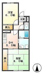 ハピネス2[2階]の間取り