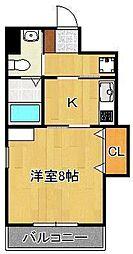 北九州都市モノレール小倉線 旦過駅 徒歩6分の賃貸マンション 5階1Kの間取り