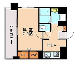 JR鹿児島本線 香椎駅 徒歩5分の賃貸マンション 6階1Kの間取り