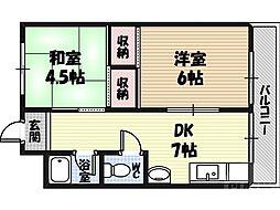 ラ・フォーレつるみ 4階2DKの間取り
