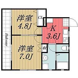 千葉都市モノレール みつわ台駅 徒歩13分の賃貸アパート 3階2Kの間取り