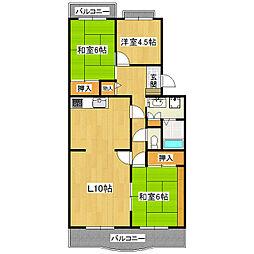 北竜台グリーンハイツ3号棟202号室[1号室]の間取り