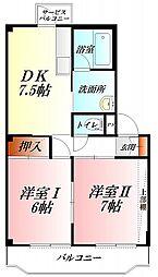 加藤ハイツ 3階2DKの間取り