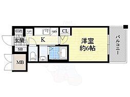 JR大阪環状線 今宮駅 徒歩6分の賃貸マンション 11階1Kの間取り